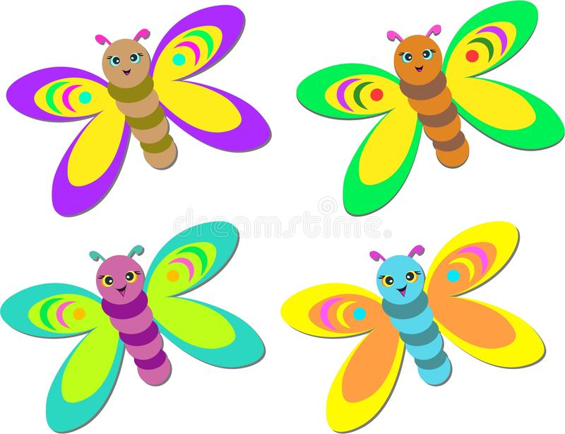 Mezcla de mariposas lindas del bebé ilustración del vector