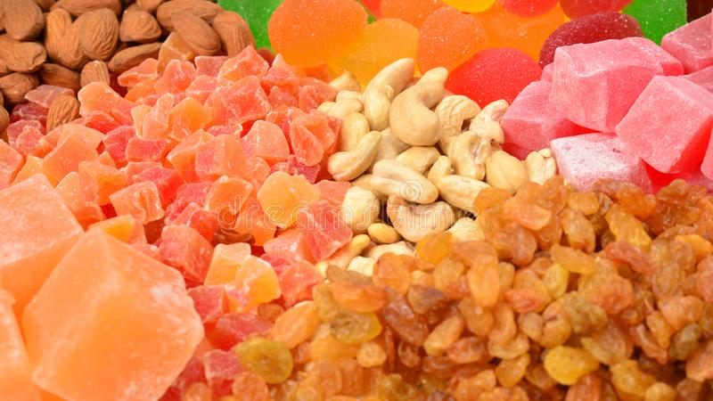 Mezcla de nueces y de fondo secado del fruta y dulce de los placeres turcos foto de archivo