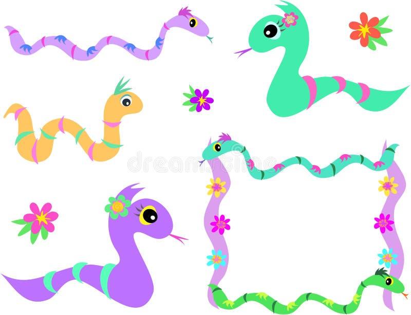 Mezcla de serpientes y de flores libre illustration