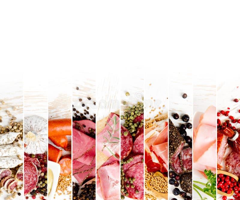 Mezcla del jamón y del salami fotos de archivo