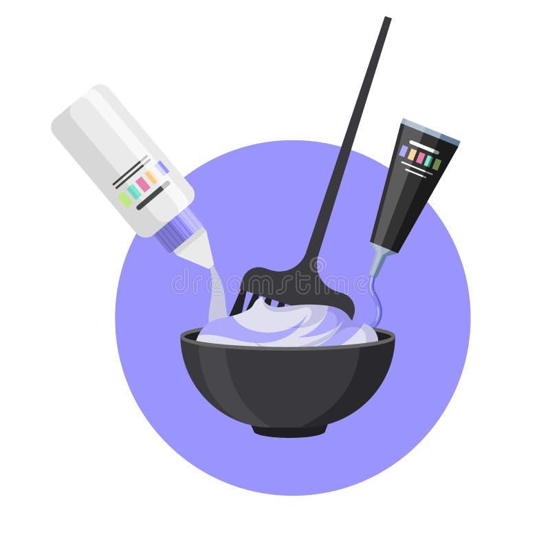 Mezcla del tinte de pelo con el cepillo para colorear ilustración del vector