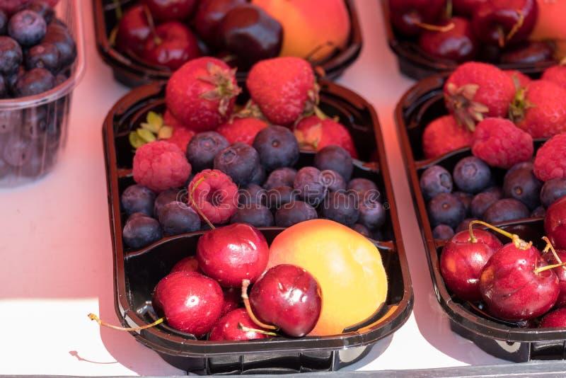 Mezcla fresca de frutas en platos plásticos imágenes de archivo libres de regalías