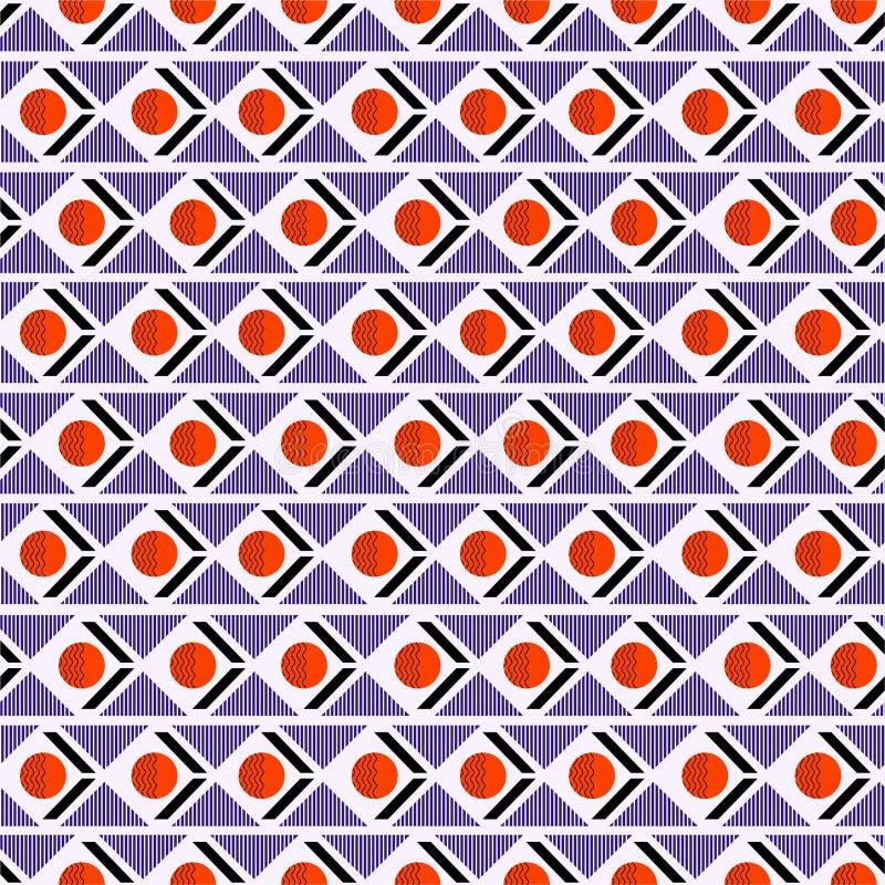 Mezcla inconsútil geométrica del modelo con la raya del triángulo del círculo en humor retro horizontal stock de ilustración