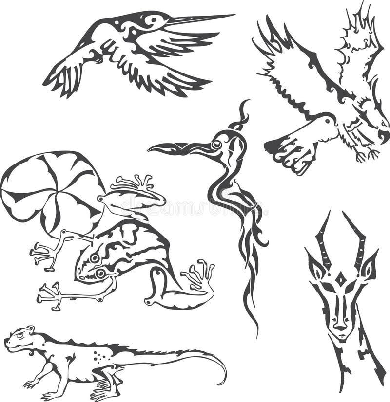 Mezcla tribal de los animales stock de ilustración
