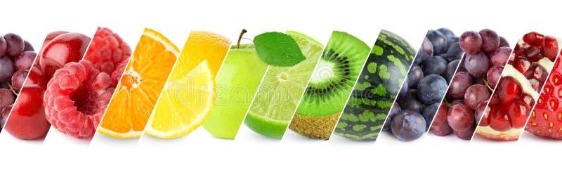 Mezclado de las frutas del color Collage de la fruta madura fresca stock de ilustración