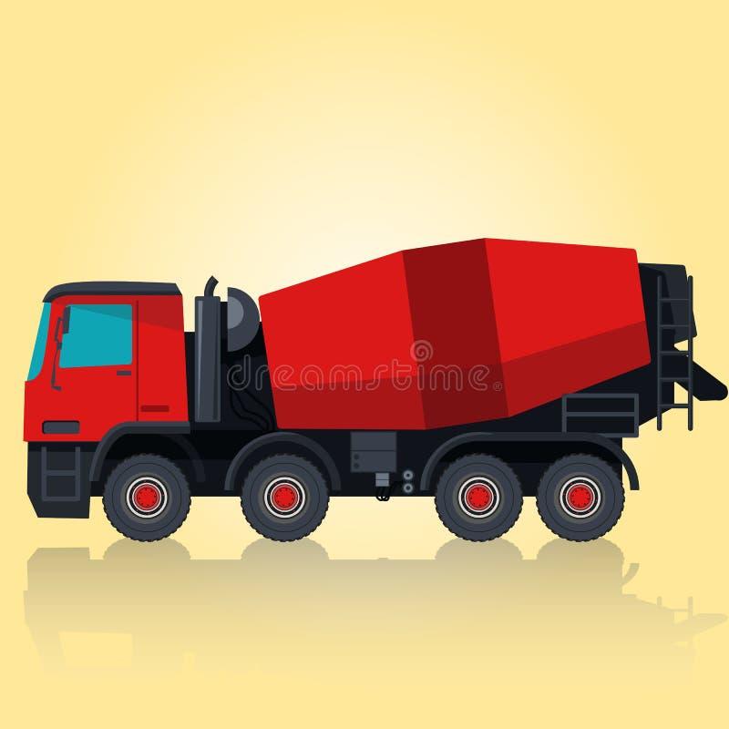 Mezclador concreto rojo en amarillo stock de ilustración