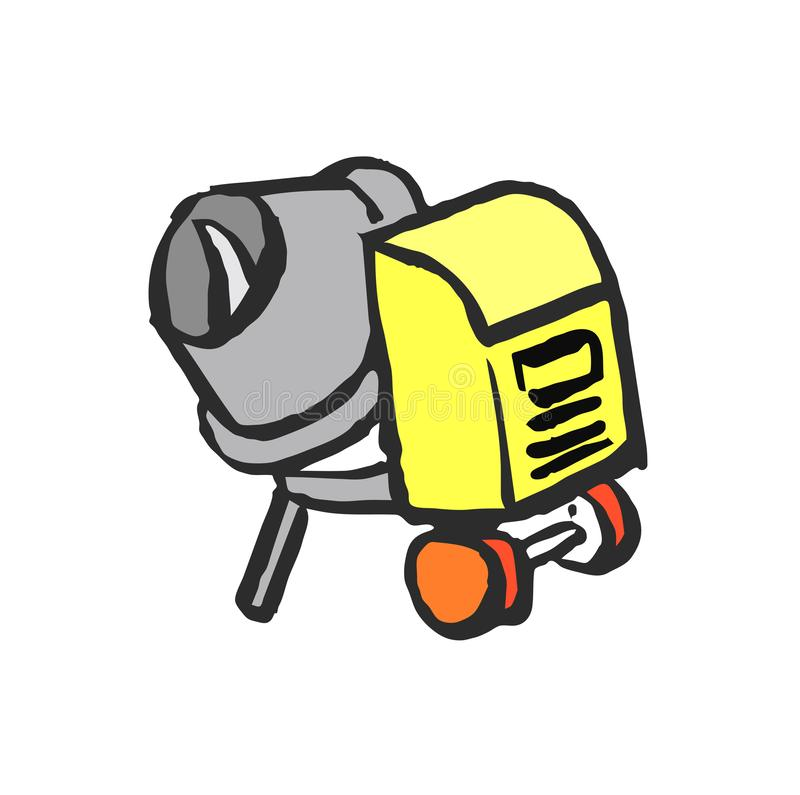 Mezclador de cemento de la historieta ilustración del vector