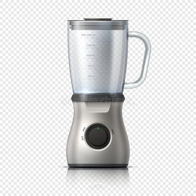 mezclador Mezclador vacío del juicer o de alimentos Dispositivo eléctrico aislado de la cocina Ilustración realista del vector stock de ilustración