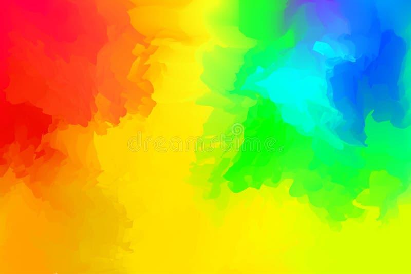 Mezclados coloridos para el fondo, manchas del extracto de la acuarela del arco iris pintan para la publicidad de la bandera de l ilustración del vector