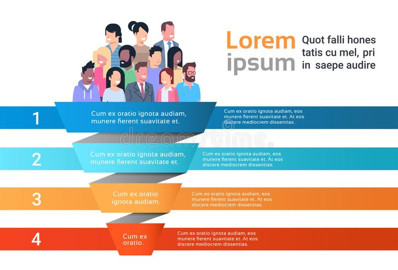 Mezcle la plantilla del embudo del infographics de la carta de proceso de la cronología del negocio de la gente de la raza usada  stock de ilustración