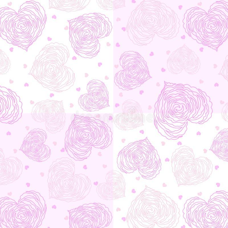 Mezcle muchas rosas lindas de las sombras del rosa del corazón del tamaño en modelo inconsútil floral del fondo rosado y blanco ilustración del vector