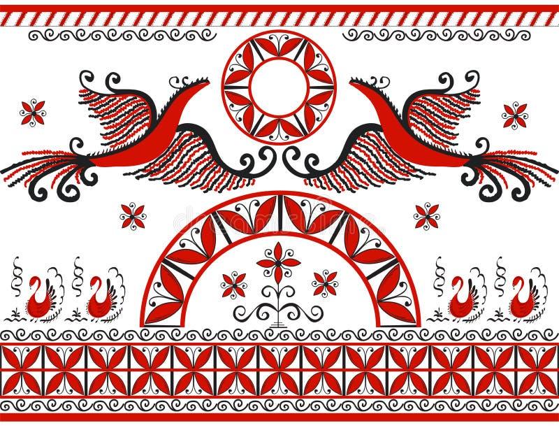 Mezensky röd firebird vektor illustrationer