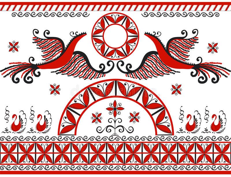 Mezensky red firebird vector illustration