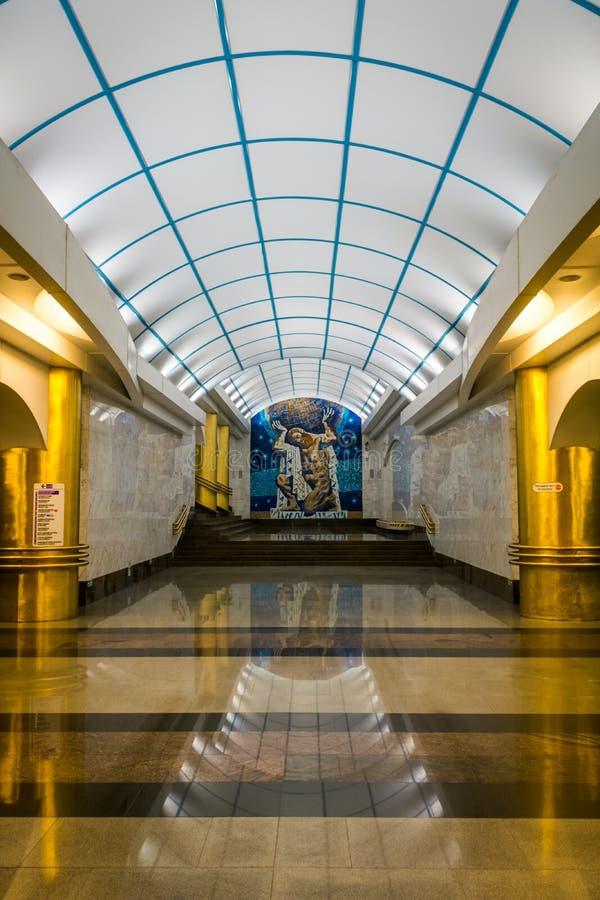 Mezhdunarodnaya tunnelbanastation i St Petersburg, Ryssland royaltyfri bild
