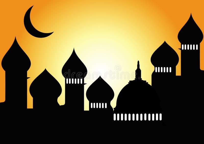 Mezquita con la media luna stock de ilustración