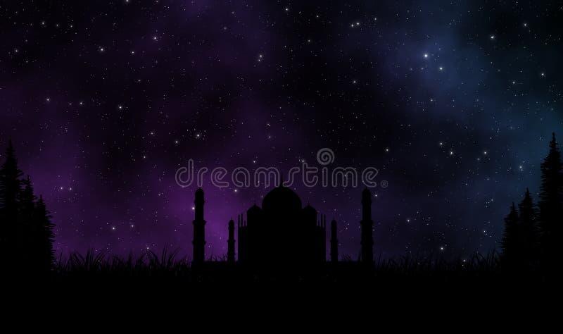Mezquita de la silueta debajo del cielo hermoso en la noche stock de ilustración