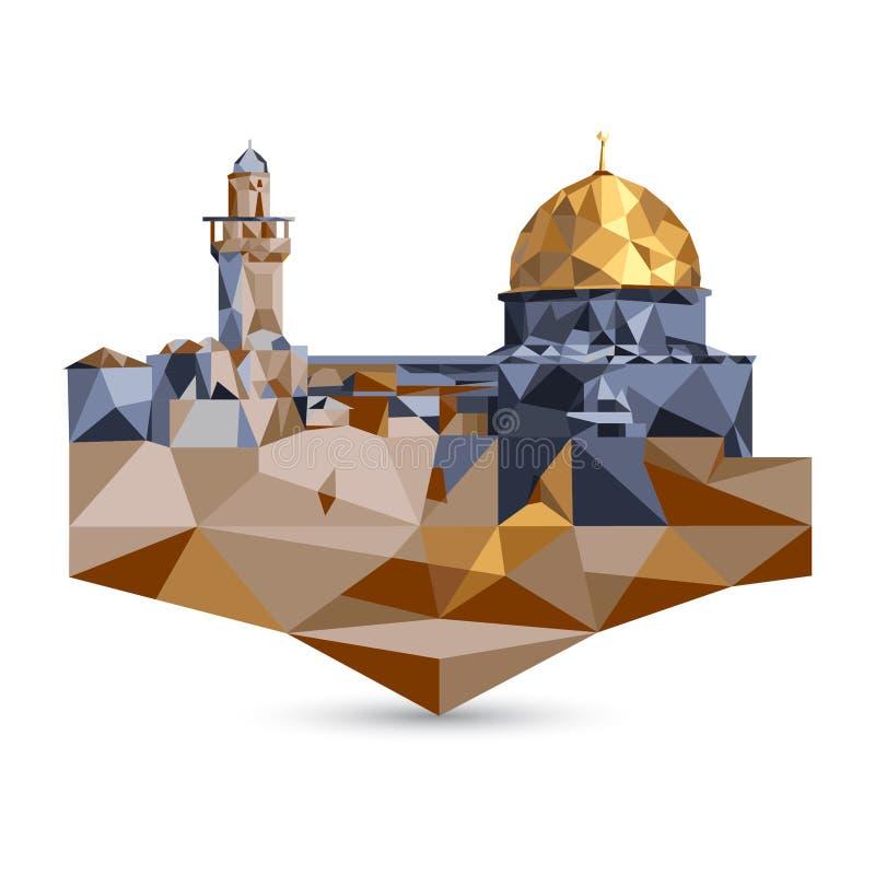 Mezquita del al-Aqsa y bóveda de la roca en Jerusalén, Israel polígono ilustración del vector