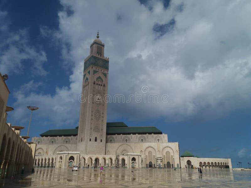 Mezquita durante puesta del sol - Casablanca, Marruecos 2 Casablanca 2018 de Hassan II foto de archivo libre de regalías