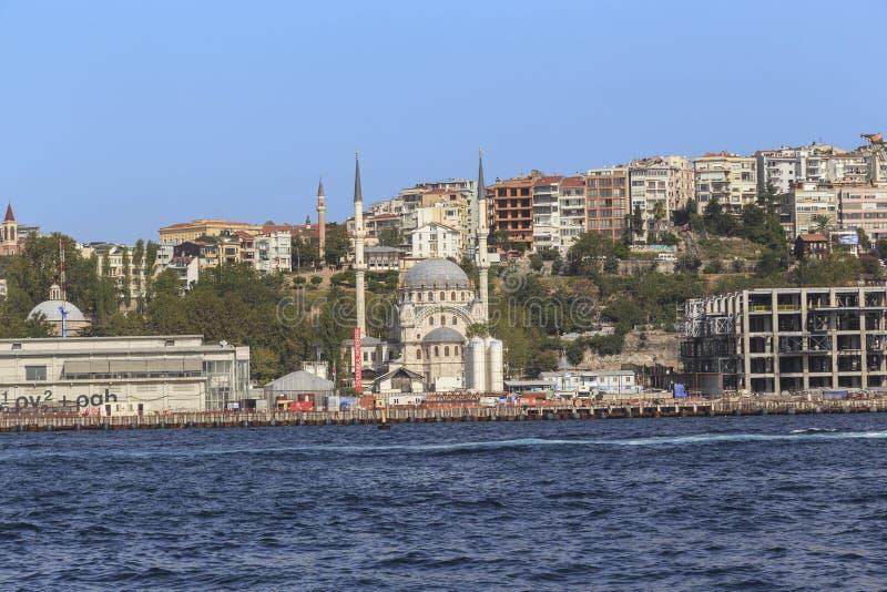 Mezquita en el banco del Bosphorus, Estambul de Nusretiye foto de archivo libre de regalías