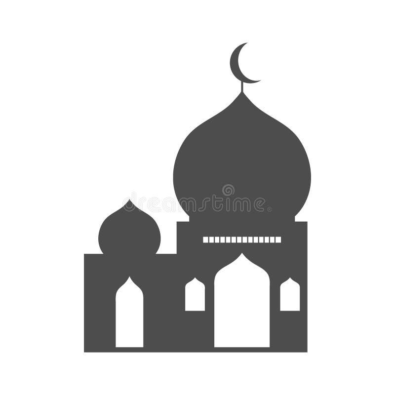 Mezquita gris isl?mica, icono, aislado en el fondo blanco libre illustration