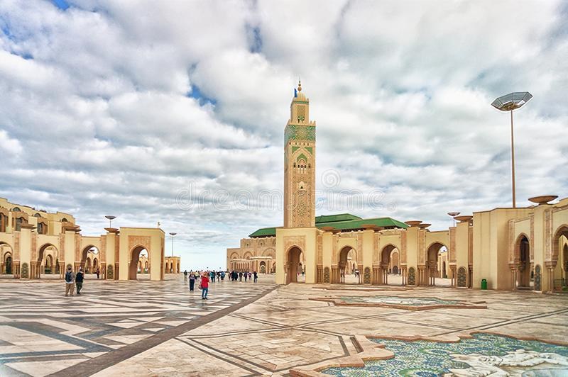 Mezquita Hassan de la torre II en Casablanca fotografía de archivo
