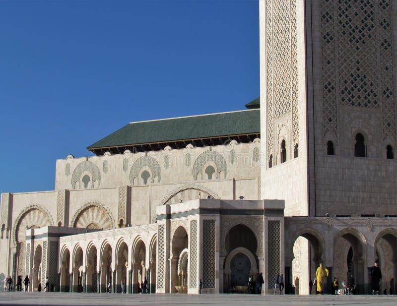 Mezquita hermosa Hassan II una obra maestra arquitectónica que hace frente a luz del sol foto de archivo