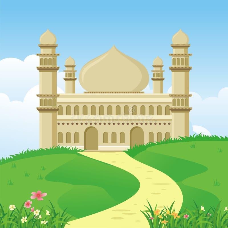 Mezquita islámica de la historieta con paisaje de la naturaleza ilustración del vector