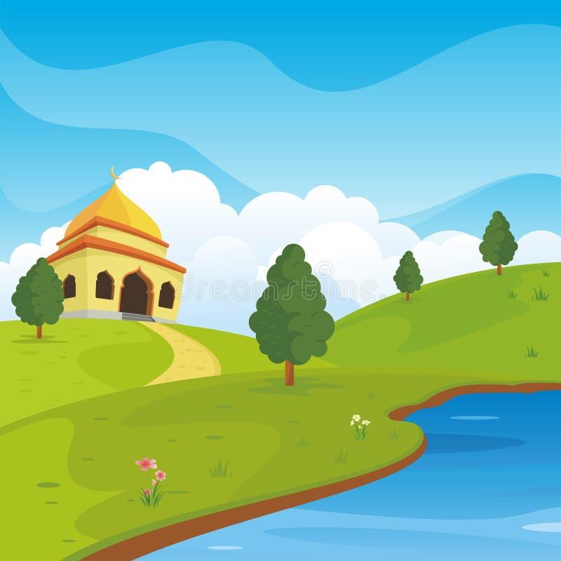 Mezquita islámica de la historieta y paisaje precioso de la naturaleza ilustración del vector