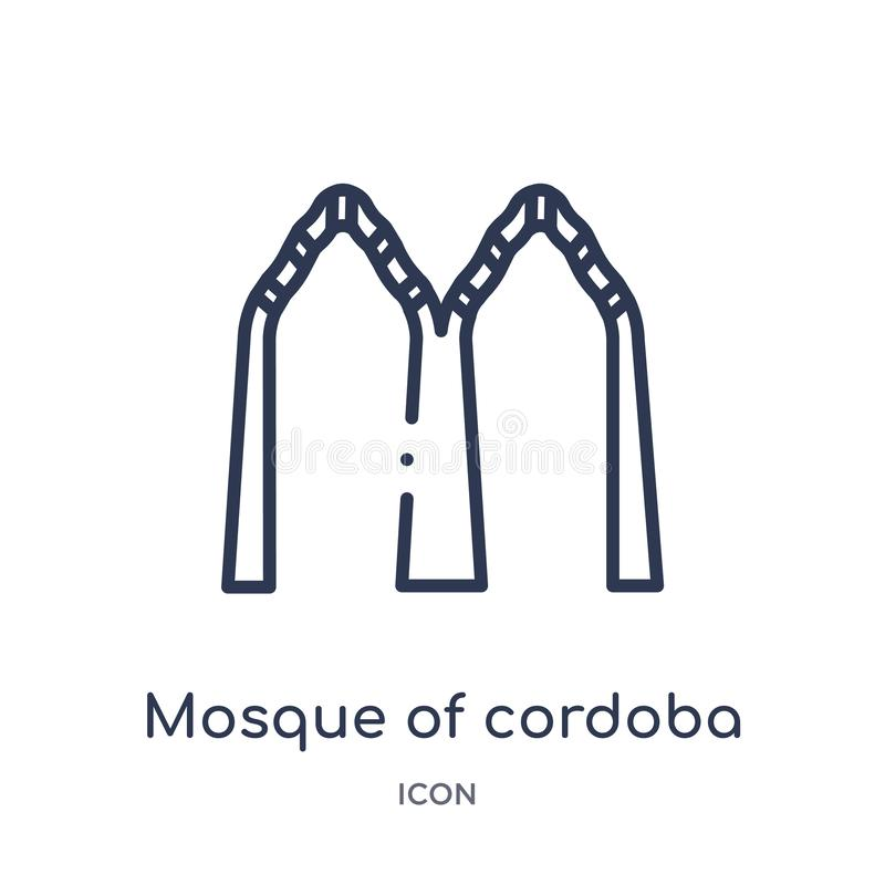 Mezquita linear del icono de Córdoba de la colección del esquema de los edificios Línea fina mezquita de icono de Córdoba aislada ilustración del vector