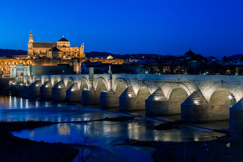 Mezquita and roman bridge royalty free stock image