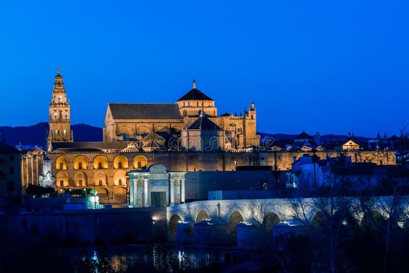 Mezquita and roman bridge stock photo