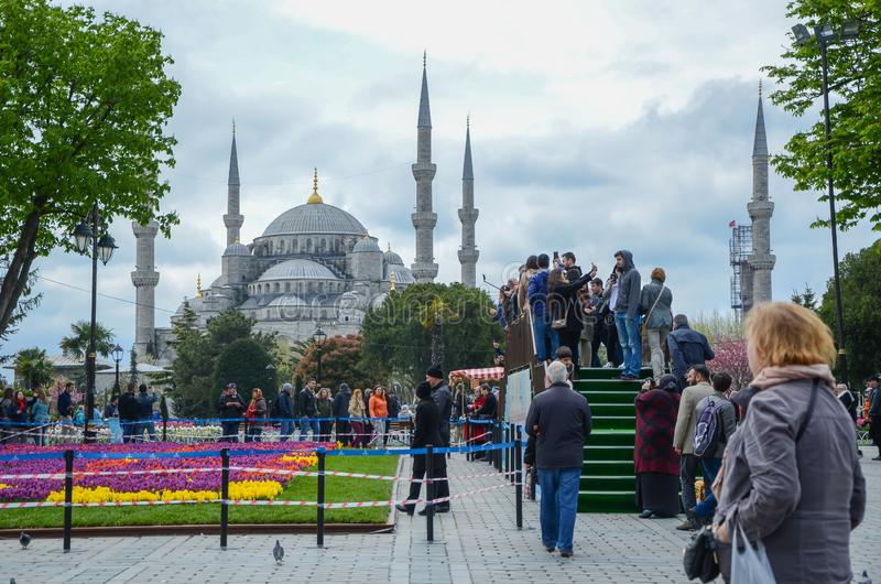 Mezquita y cuadrado azules de Sultanahmet imagen de archivo libre de regalías