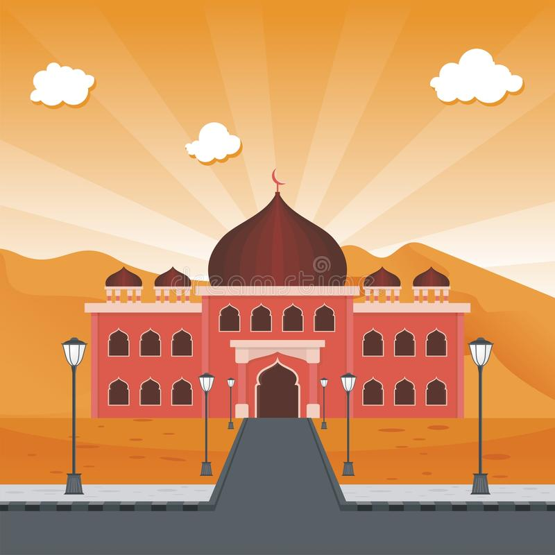 Mezquita y desierto islámicos de la historieta stock de ilustración