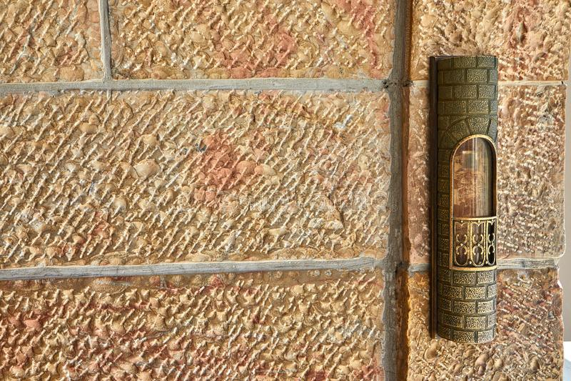 Mezuzah at the entrance to the area near Western Wall. Mezuzah at the entrance to the area near the Western Wall, holy, cityscape, jerusalem, kotel, shrine royalty free stock images