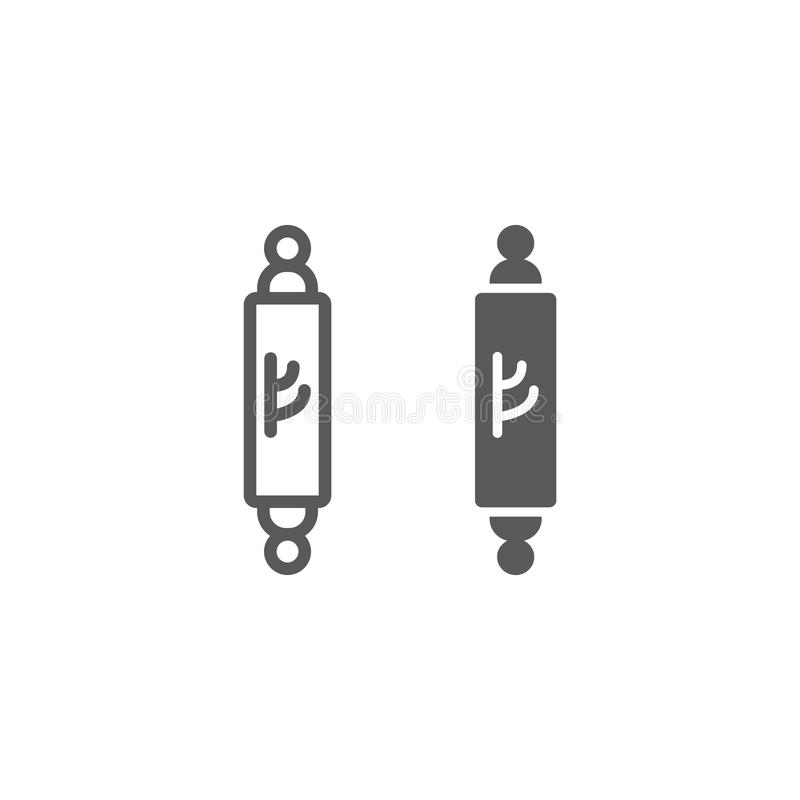 Mezuzah line and glyph icon, door and judaism, jewish doorpost sign, vector graphics, a linear pattern on a white. Background, eps 10 vector illustration