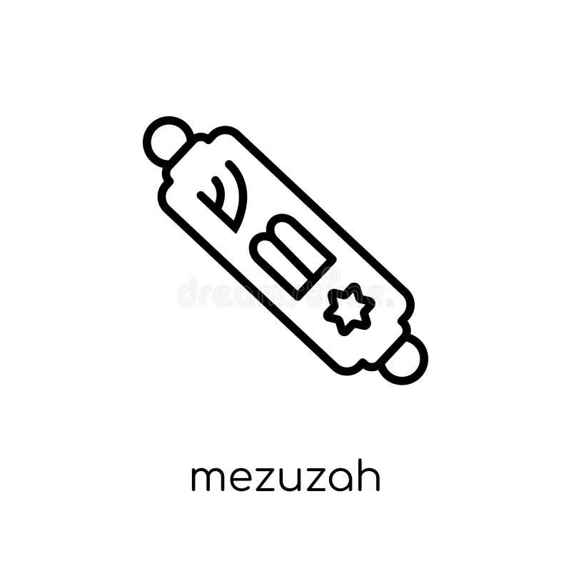 Mezuzah symbol Moderiktig modern plan linjär vektorMezuzah symbol på w stock illustrationer