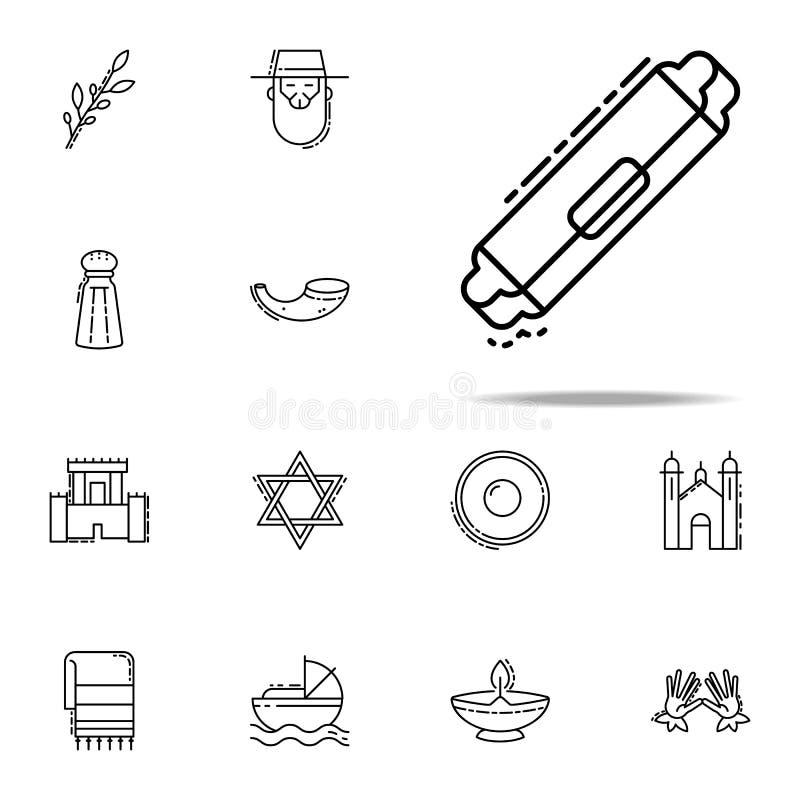 Mezuzah symbol Universell uppsättning för judendomsymboler för rengöringsduk och mobil stock illustrationer
