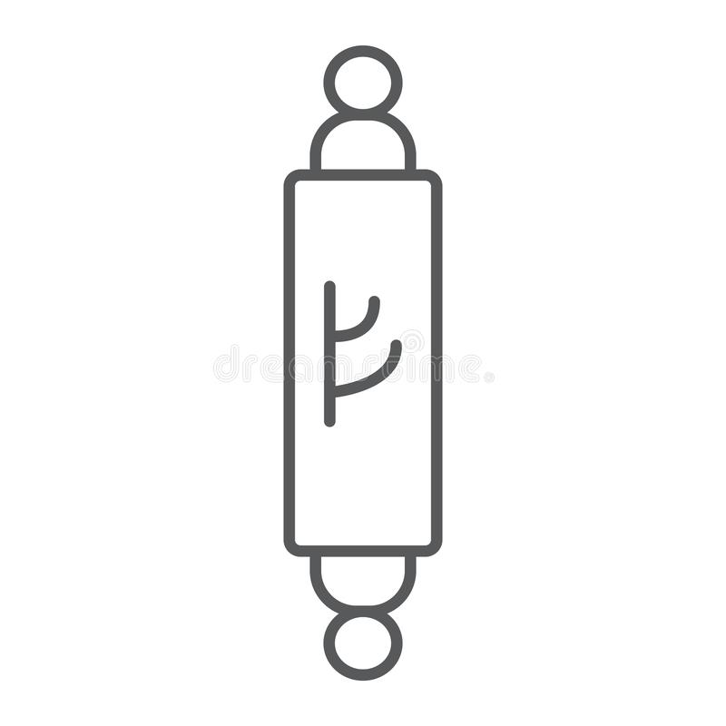 Mezuzah thin line icon, door and judaism, jewish doorpost sign, vector graphics, a linear pattern on a white background. Mezuzah thin line icon, door and royalty free illustration