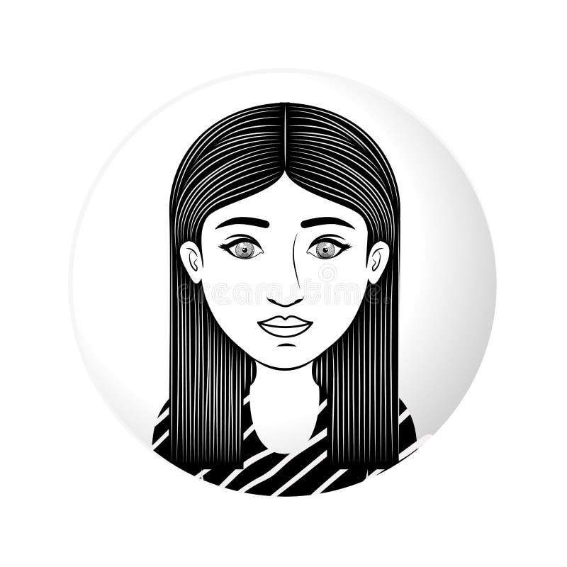 Mezza donna del corpo della sfera con i capelli di scarsità diritti royalty illustrazione gratis