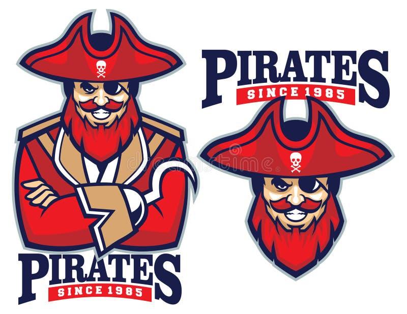 Mezza mascotte del pirata del corpo royalty illustrazione gratis
