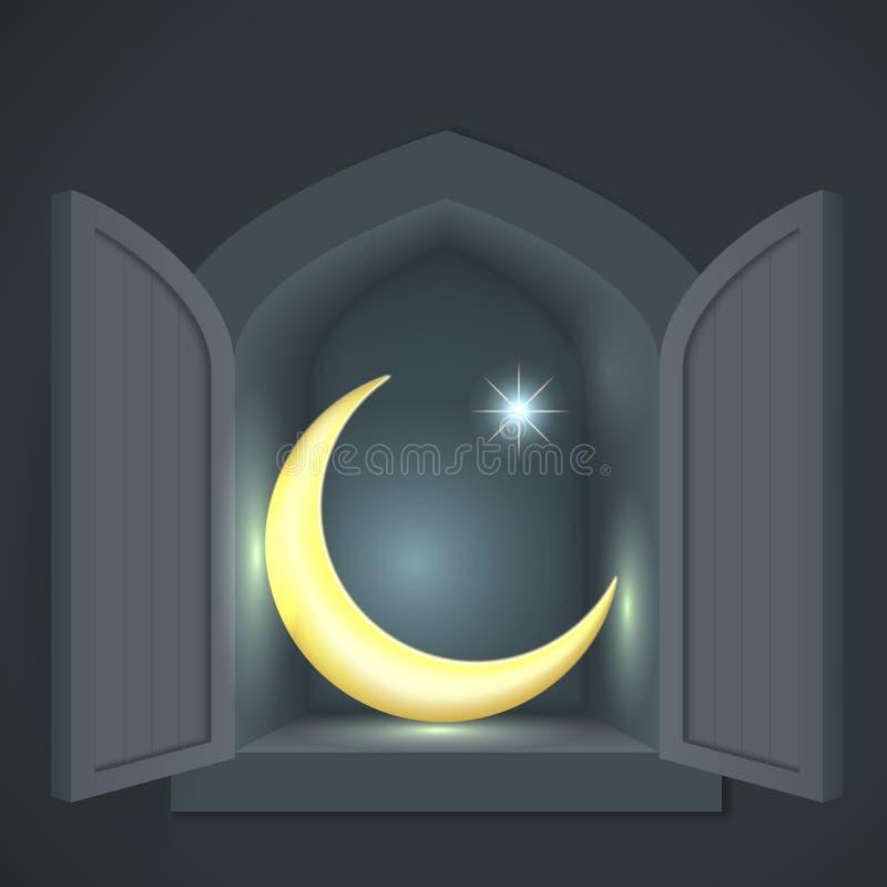 Mezzaluna e stella islamiche illustrazione di stock