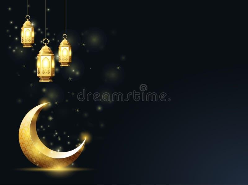 Mezzaluna islamica ed appendere giù le lanterne, saluti di Ramadan Kareem royalty illustrazione gratis