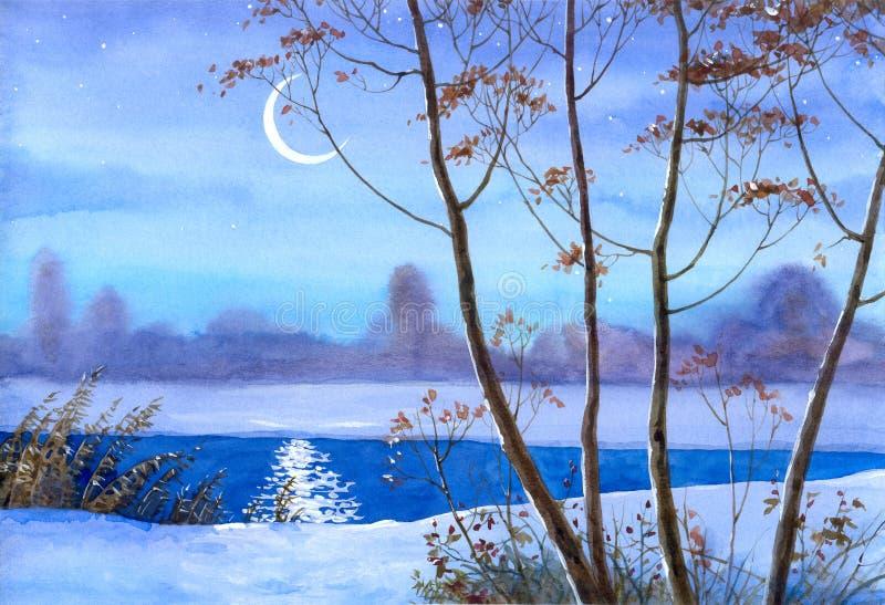 Mezzaluna sopra il fiume di inverno royalty illustrazione gratis