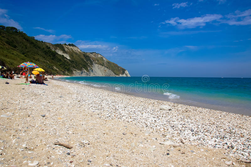 Mezzavalle beach near Ancona in the Marche region. Conero Nature Park. royalty free stock photos