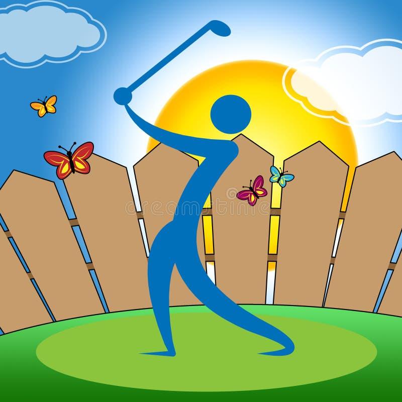 Mezzi dell'uomo dell'oscillazione di golf che oscillano hobby e colpo illustrazione vettoriale
