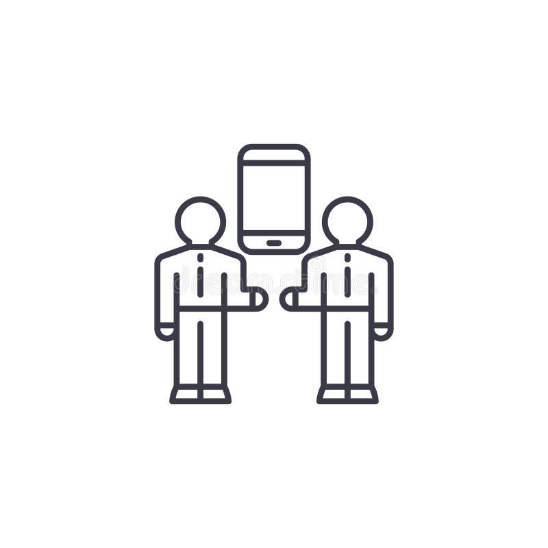 Mezzi di concetto lineare dell'icona di comunicazione I mezzi di linea di comunicazione vettore firmano, simbolo, illustrazione illustrazione vettoriale