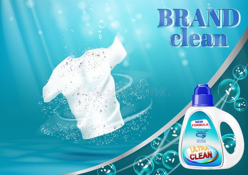 Mezzi per lavare e candeggio di tela, con un modello della bottiglia Sul fondo dell'acqua blu con le bolle illustrazione vettoriale