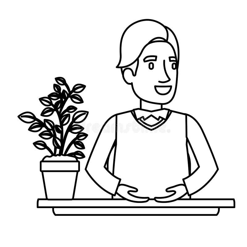 Mezzo assistente dell'uomo senior del corpo del primo piano nero della siluetta in scrittorio in cappotto royalty illustrazione gratis