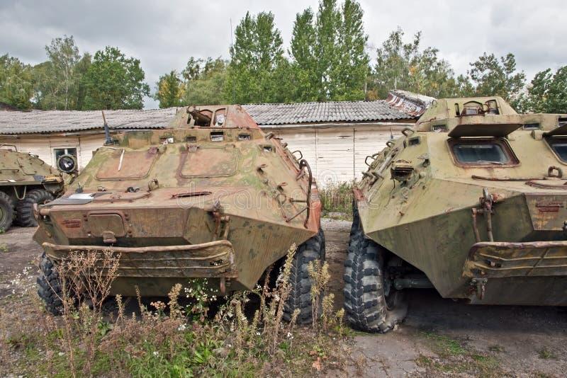 Mezzo corazzato per il trasporto delle truppe corazzato distrutto immagini stock libere da diritti