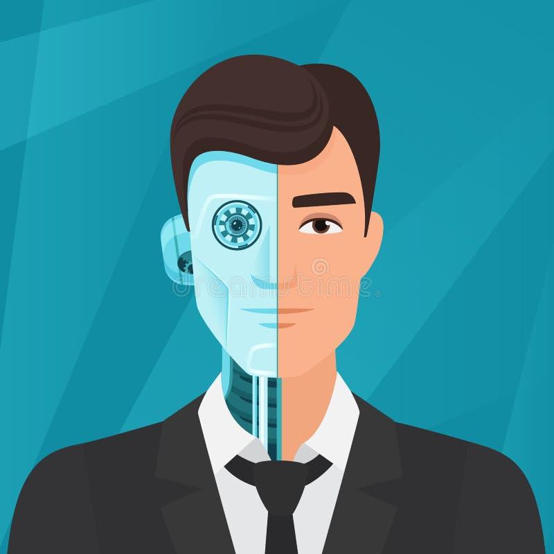 Mezzo cyborg, illustrazione a metà umana di vettore dell'uomo d'affari dell'uomo royalty illustrazione gratis